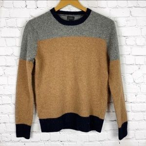 J. CREW 100% Lambs Wool Color Block Sweater M